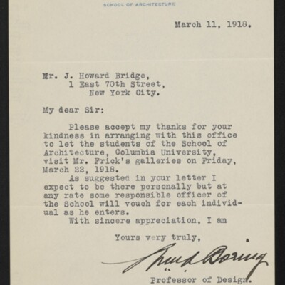 Letter from William A. Boring to J. Howard Bridge, 11 March 1918