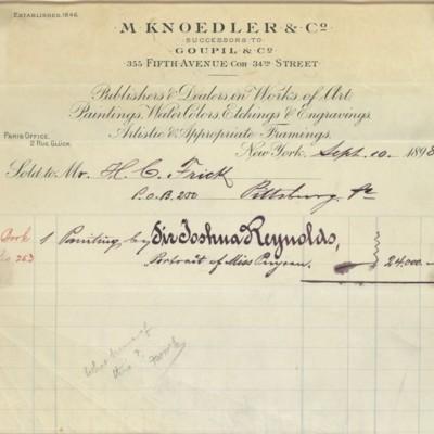 M. Knoedler & Co. Invoice, 10 September 1898