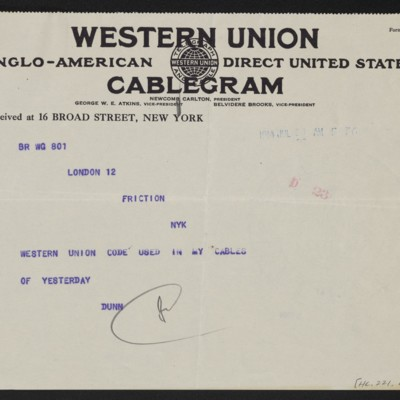 Cable from [James H.] Dunn to [Henry Clay Frick], 28 July 1914