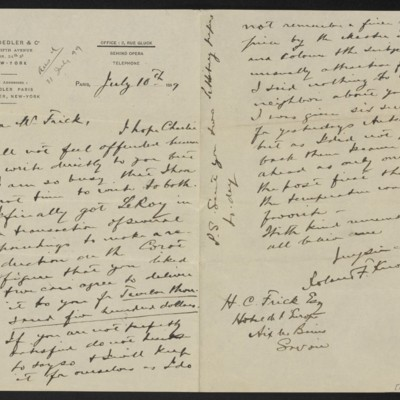 Letter from Roland F. Knoedler to Henry Clay Frick, 10 July 1899