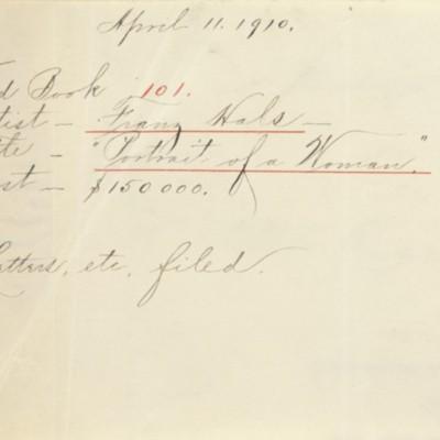 Memorandum prepared by Henry Clay Frick's secretary, 11 April 1910
