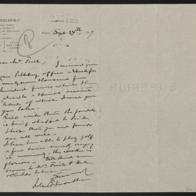 Letter from Roland F. Knoedler to Henry Clay Frick, 24 September 1907