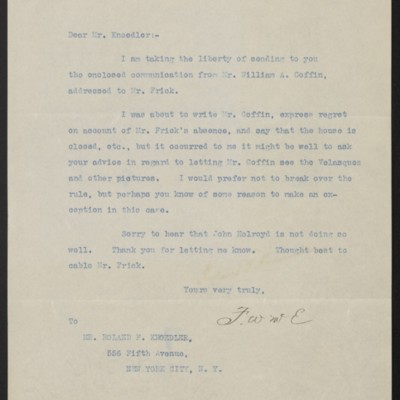 Letter from F.W. McElroy to Roland F. Knoedler, 4 March 1912