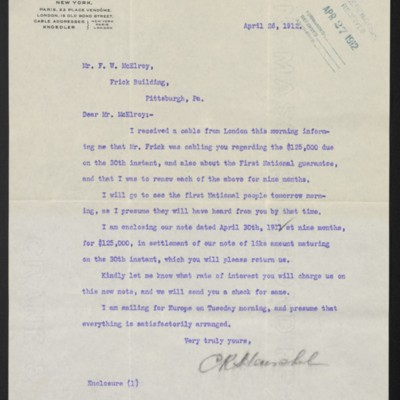Letter from C.R. Henschel to F.W. McElroy, 26 April 1912