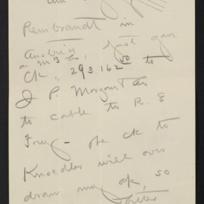 Note from [Henry Clay] Frick to F.W. McElroy, 21 April 1910