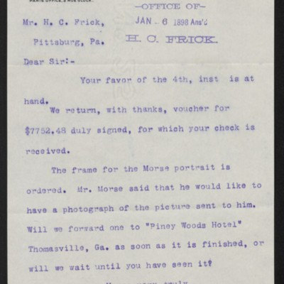 Letter from M. Knoedler & Co. to Henry Clay Frick, 5 January 1898