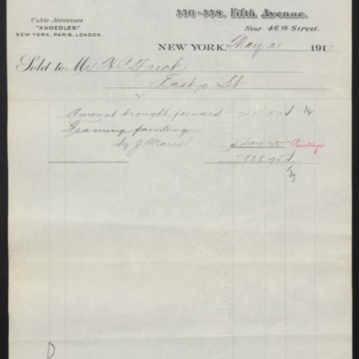 Invoice from M. Knoedler & Co. to Henry Clay Frick, 31 May 1917 [page 2 of 2]