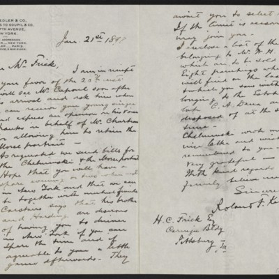 Letter from Roland F. Knoedler to Henry Clay Frick, 21 January 1898