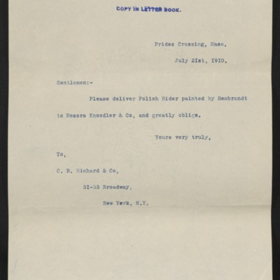 Letter from [Henry Clay Frick] to C.B. Richard & Co., 21 July 1910