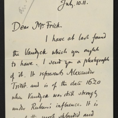 Letter from Roger Fry to [H.C.] Frick, 10 July 1911 [page 1 of 8]