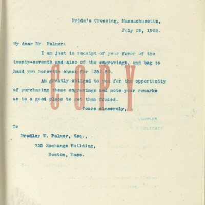 Letter from [Henry Clay Frick] to Bradley W. Palmer, 29 July 1908
