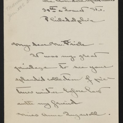 Letter from Katharine M. Barker to [H.C.] Frick, 15 January 1919 [page 1 of 3]