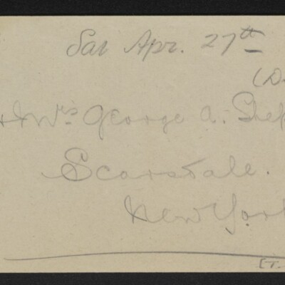 Note re Dr. & Mrs. George A. Shepard, 25 April 1918