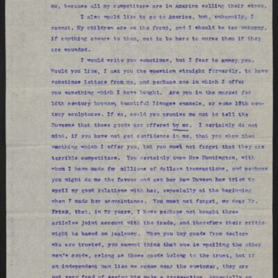 Letter from Jacques Seligmann to H.C. Frick, 10 October 1916 [page 2 of 3]