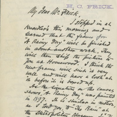 Letter from William A. Coffin to Henry Clay Frick, 19 October 1898