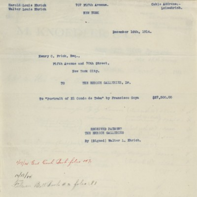 Copy of receipt from The Ehrich Galleries, 16 December 1914