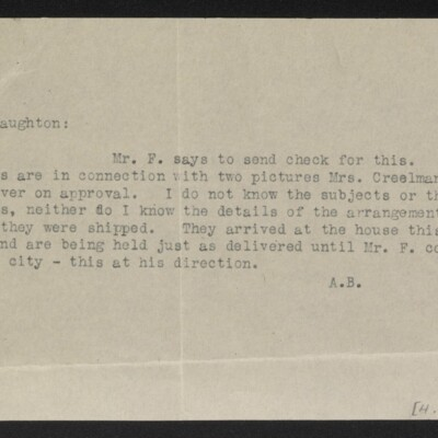 Note from [Alice Braddel] to [W.J.] Naughton, circa August 1919