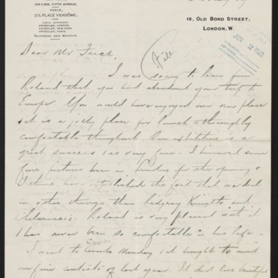 Letter from Charles S. Carstairs to Henry Clay Frick, 16 May 1913