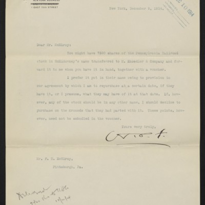 Letter from H.C. Frick to F.W. McElroy, 9 December 1914 [front]