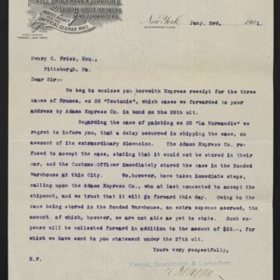 Letter from Hensel, Bruckmann & Lorbacher to Henry Clay Frick, 3 January 1901