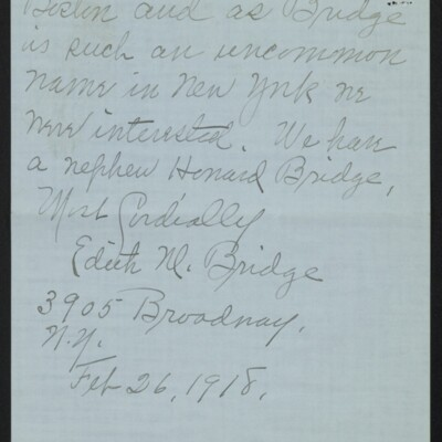 Letter from Edith M. Bridge to J. Howard Bridge, 26 February 1918 [page 4 of 4]