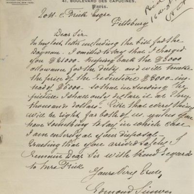 Letter from Edmond Simon to Henry Clay Frick, 8 May 1898