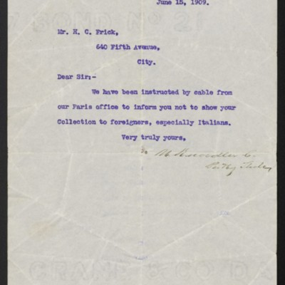 Letter from M. Knoedler & Co. to Henry Clay Frick, 15 June 1909