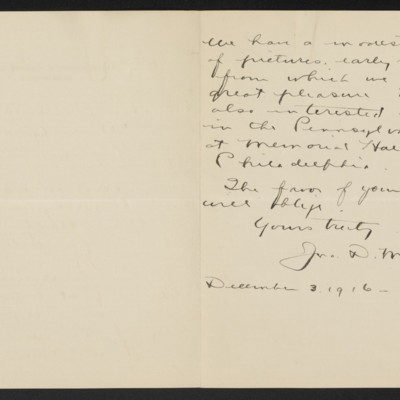 Letter from John D. McIlhenny to Henry C. Frick, 3 December 1916 [page 2 of 2]