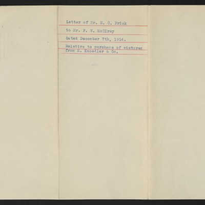 Letter from H.C. Frick to F.W. McElroy, 7 December 1914 [back]
