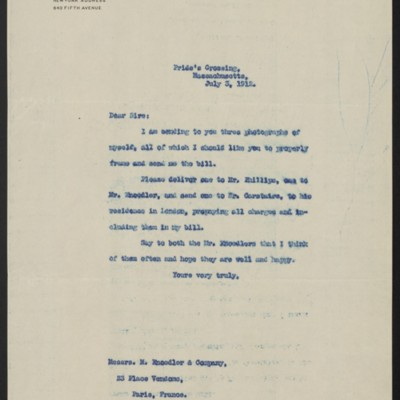 Letter from Henry Clay Frick to M. Knoedler & Co., 3 July 1912
