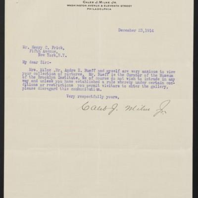 Letter from Caleb J. Milne Jr. to Henry C. Frick, 23 December 1914