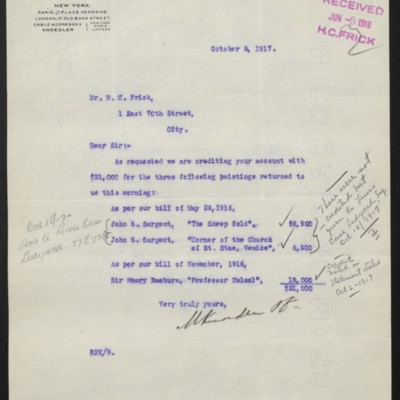 Letter from M. Knoedler & Co. to H.C. Frick, 8 October 1917