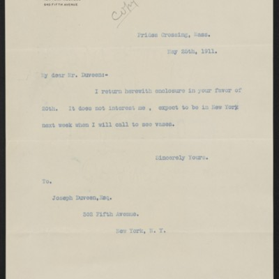 Letter from [Henry Clay Frick] to Joseph Duveen, 25 May 1911