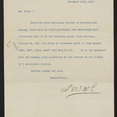 Letter from F.W. [McElroy] to [H.C.] Frick, 18 November 1907
