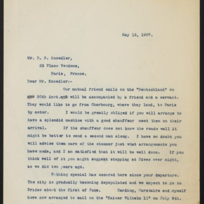 Letter from Henry Clay Frick to Roland F. Knoedler, 13 May 1907
