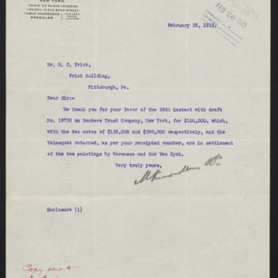 Letter from M. Knoedler & Co. to Henry Clay Frick, 25 February 1913