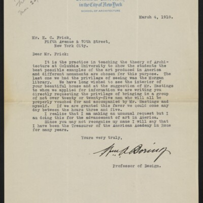 Letter from William A. Boring to H.C. Frick, 4 March 1918