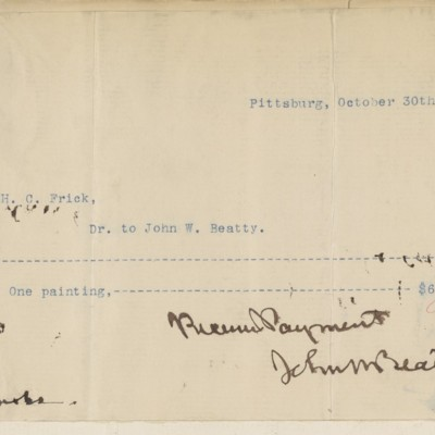 John W. Beatty Receipt, 30 October 1895