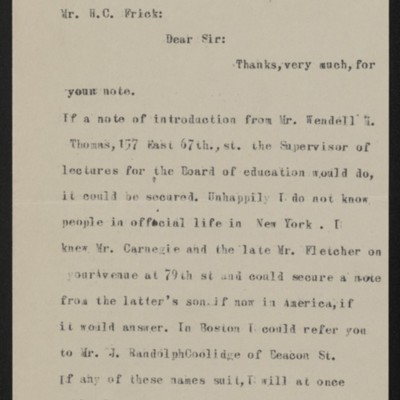 Letter from John C. Bowker to H.C. Frick, circa 25 October 1919