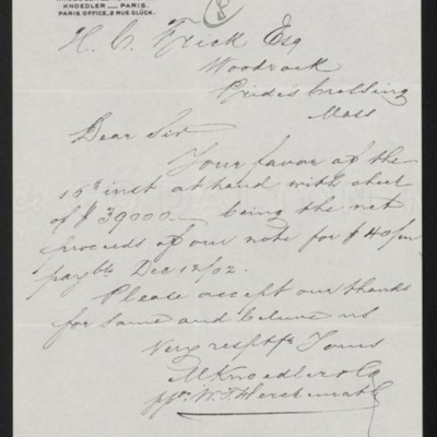 Letter from M. Knoedler & Co. to Henry Clay Frick, 18 June 1902