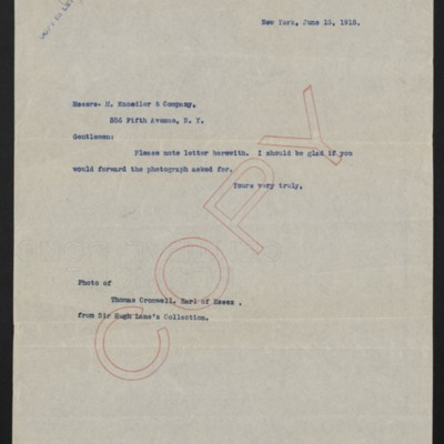 Letter from [Henry Clay Frick] to M. Knoedler & Co., 15 June 1915