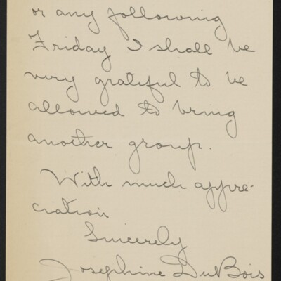 Letter from Josephine DuBois to [H.C.] Frick, circa 15 March 1918 [page 4 of 4]