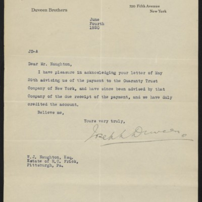 Letter from Joseph Duveen to W.J. Naughton, 4 June 1920
