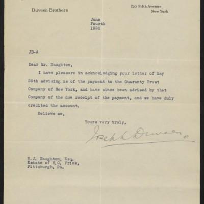 Letter from Joseph Duveen to W.J. Naughton, 4 June 1920