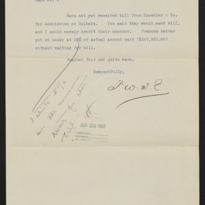 Page 2 of a letter from F.W. McElroy to [Henry Clay Frick], circa 29 June 1912