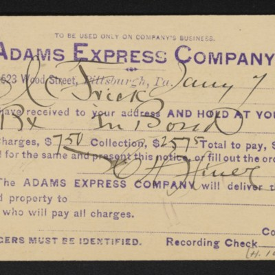 Postcard from Adams Express Company to Henry Clay Frick, 7 January 1901 [front]