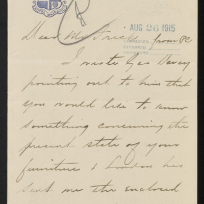 Letter from Charles S. Carstairs to Henry Clay Frick, with enclosure, 13 August 1915