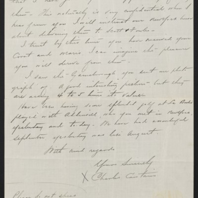 Letter from Charles S. Carstairs to [Henry Clay] Frick, 2 October 1906 [page 3 of 3]