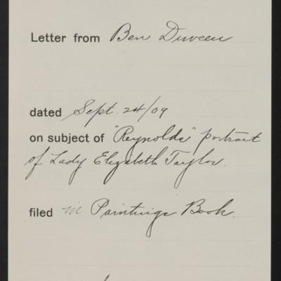 Memorandum, Office of Henry Clay Frick, 24 September 1909