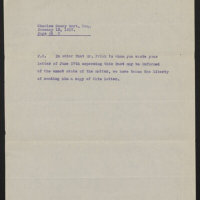 Copy of a letter from [Duveen Brothers] to Charles Henry Hart, 13 January 1917 [page 5 of 5]